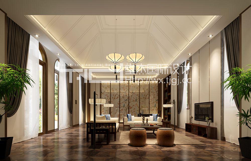 这套方案整体采用新中式的设计风格,局部加入了一些西方元素混搭.